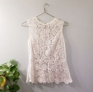 Cabi Needle Lace Shell Top Floral Exposed Zipper